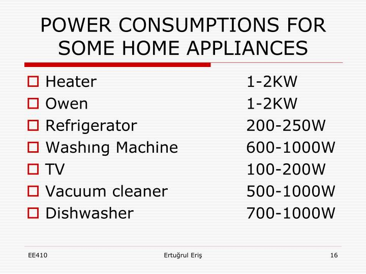 POWER CONSUMPTIONS FOR SOME HOME APPLIANCES