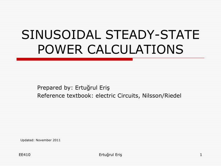 Sinusoidal steady state power calculations