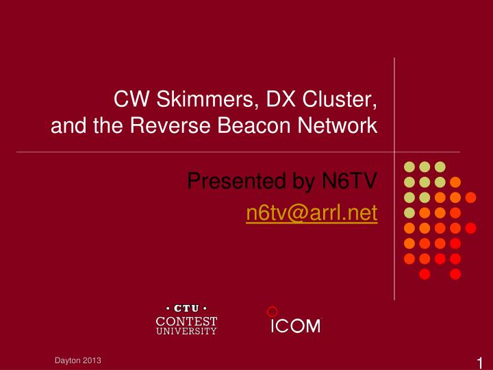 cw skimmers dx cluster and the reverse beacon network n.