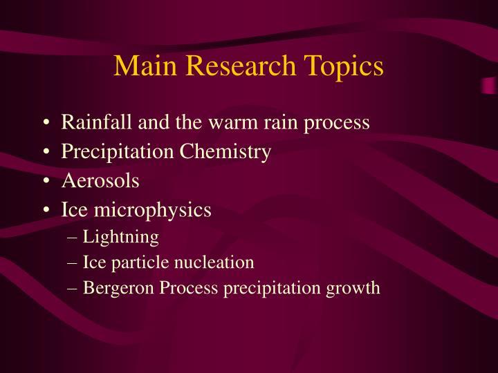 Main research topics