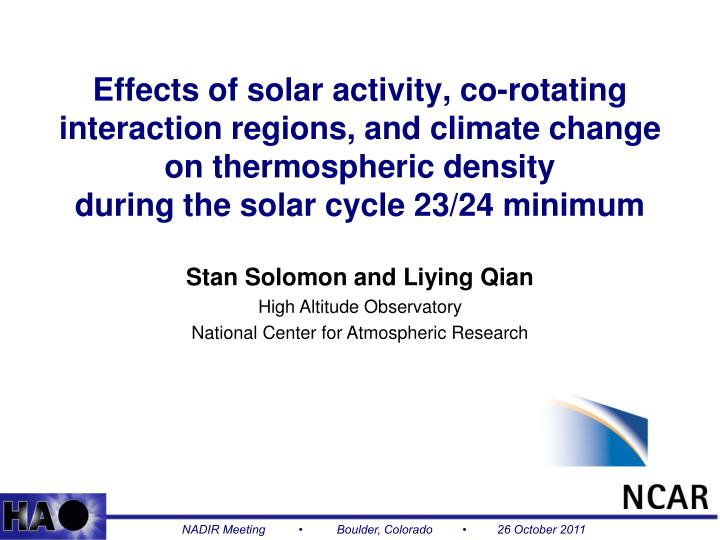 Effects of solar activity, co-rotating