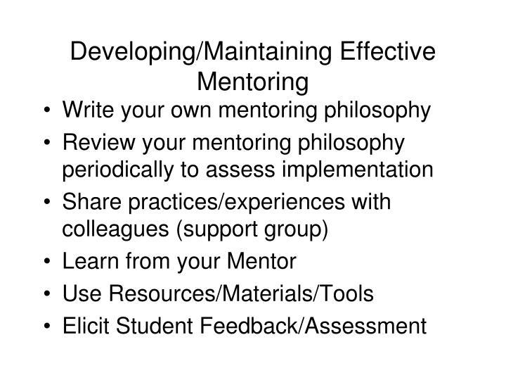 Developing/Maintaining Effective Mentoring