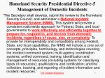 homeland security presidential directive 5 management of domestic incidents1
