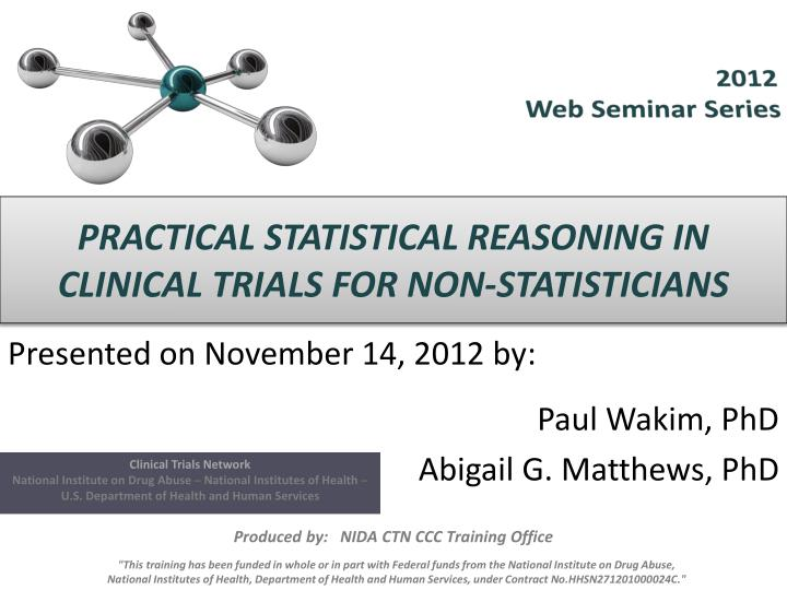 practical statistical reasoning in clinical trials for non statisticians n.