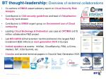 bt thought leadership overview of external collaborations
