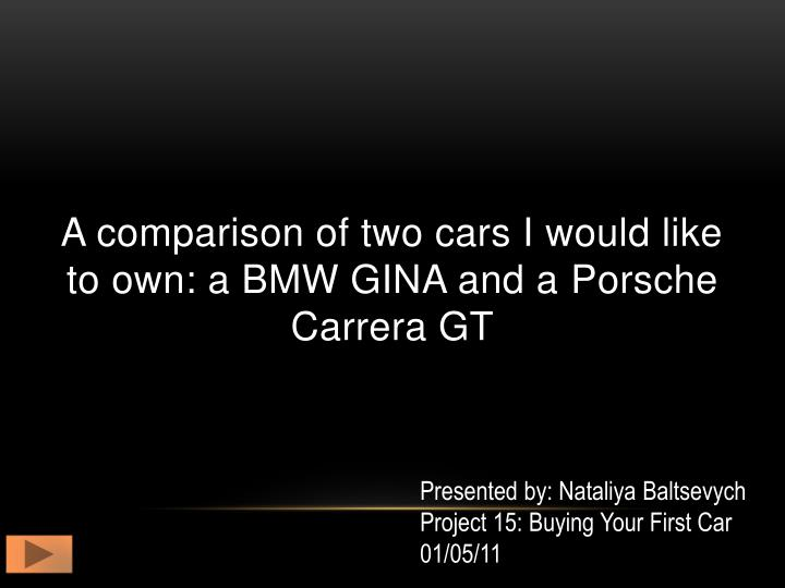 a comparison of two cars i would like to own a bmw gina and a p orsche c arrera gt n.