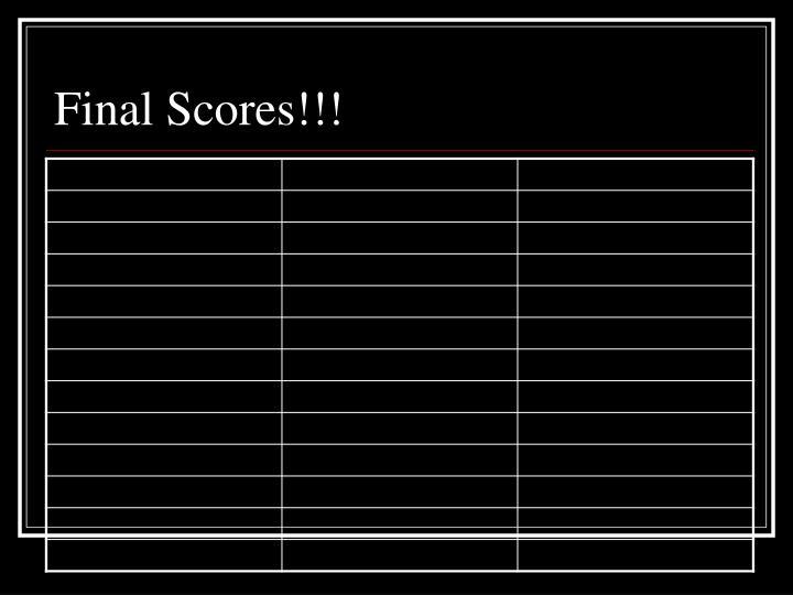 Final Scores!!!