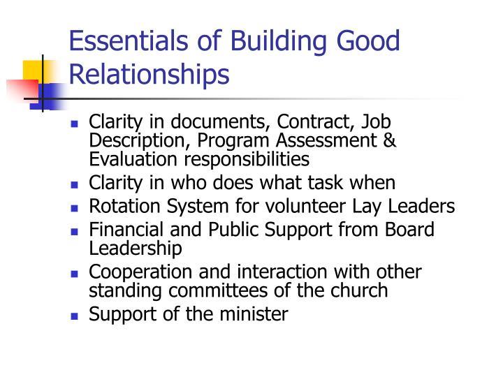 Essentials of Building Good Relationships
