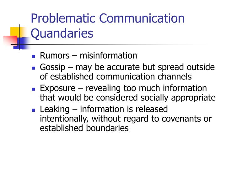 Problematic Communication Quandaries
