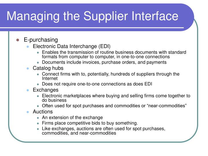 Managing the Supplier Interface