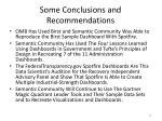 some conclusions and recommendations