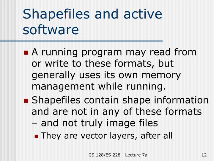 Shapefiles and active software