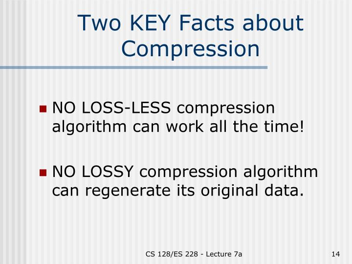 Two KEY Facts about Compression