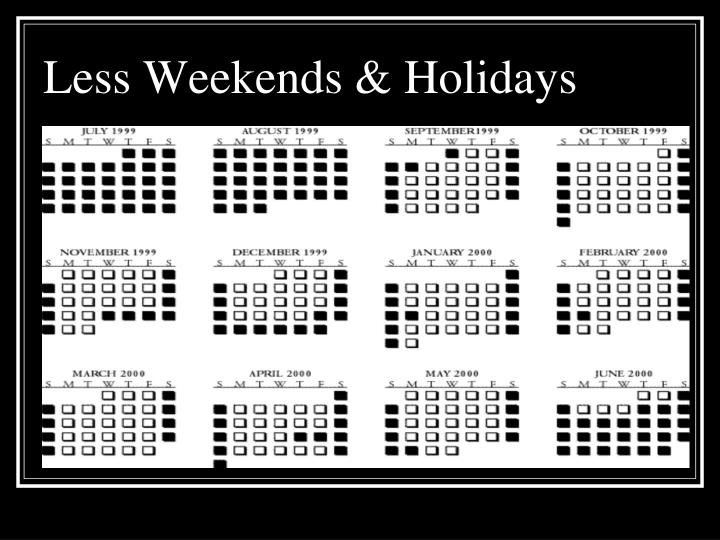 Less Weekends & Holidays