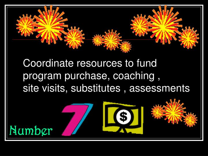 Coordinate resources to fund program purchase, coaching ,