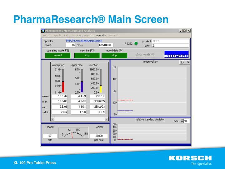 PharmaResearch® Main Screen