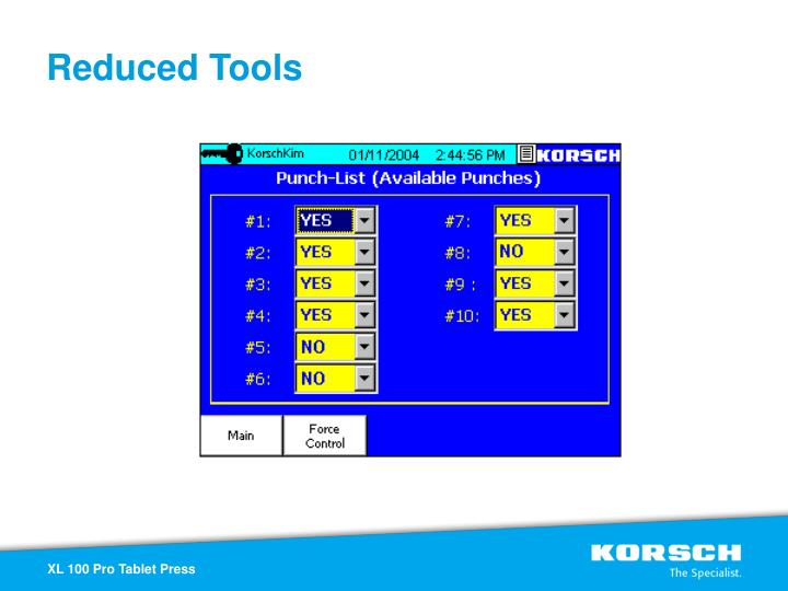 Reduced Tools