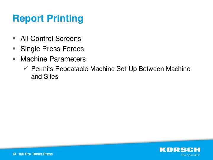 Report Printing
