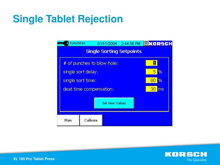Single Tablet Rejection