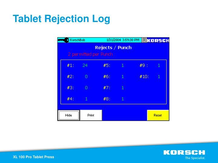 Tablet Rejection Log