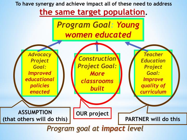 To have synergy and achieve impact all of these need to address