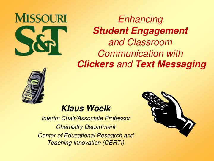 Enhancing student engagement and classroom communication with clickers and text messaging