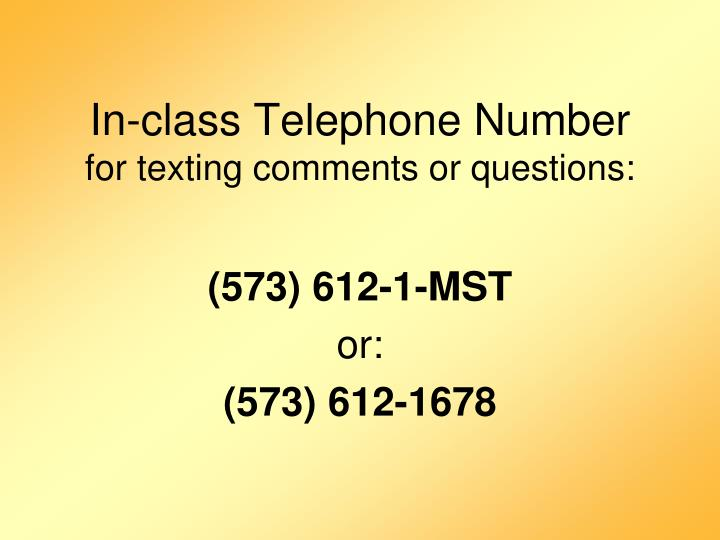 In-class Telephone Number