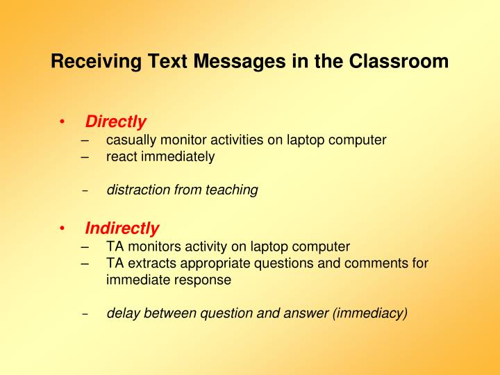 Receiving Text Messages in the Classroom