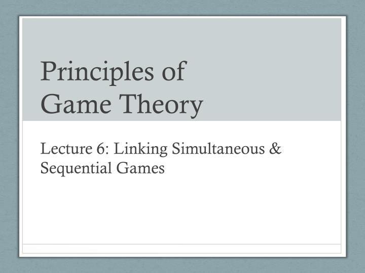 principles of game theory n.