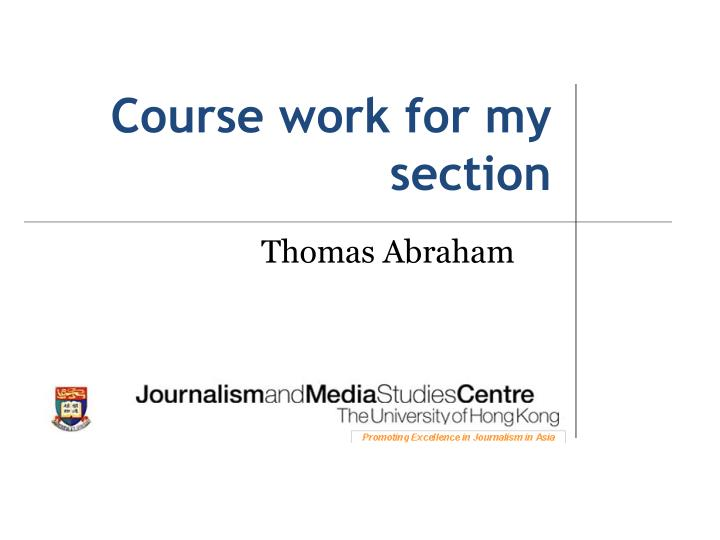 Course work for my section
