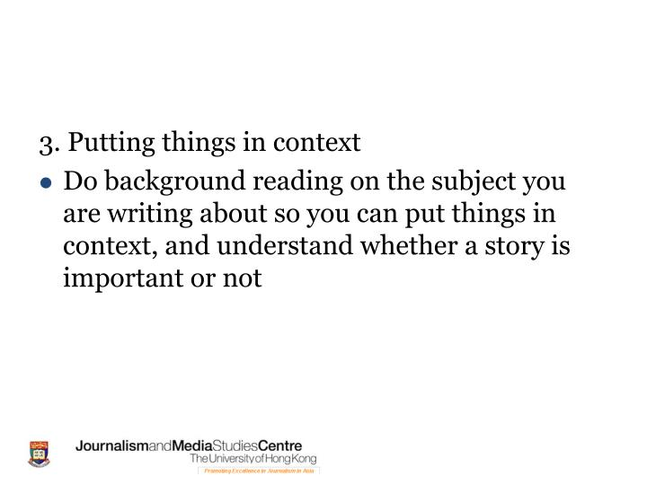 3. Putting things in context