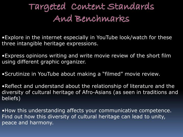 Targeted  Content Standards