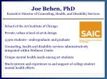 joe behen phd executive director of counseling health and disability services