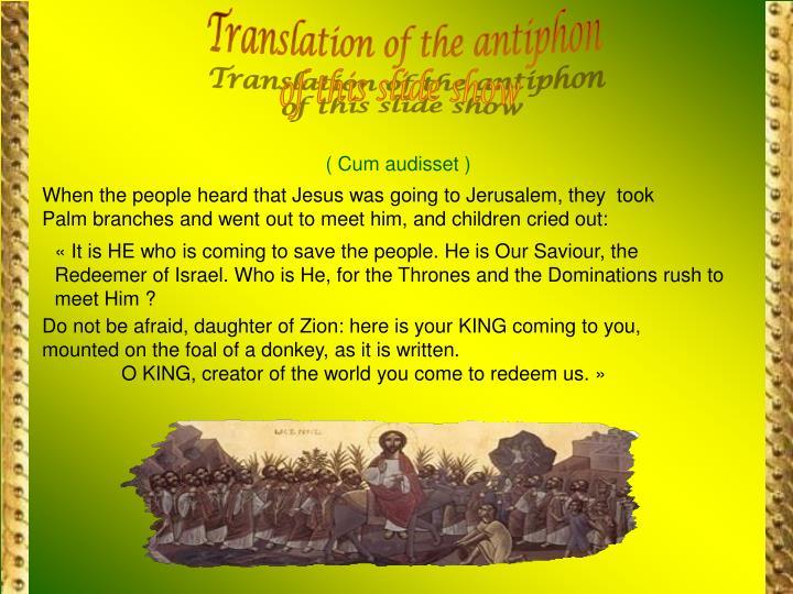 Translation of the antiphon