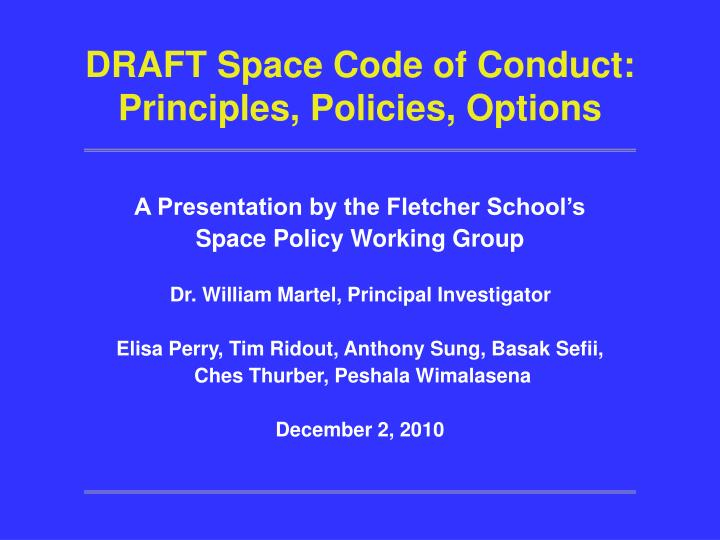draft space code of conduct principles policies options n.