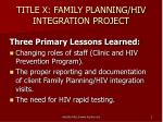 title x family planning hiv integration project
