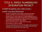 title x family planning hiv integration project2