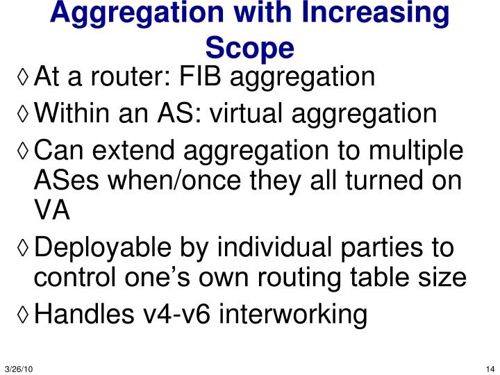 Aggregation with Increasing Scope