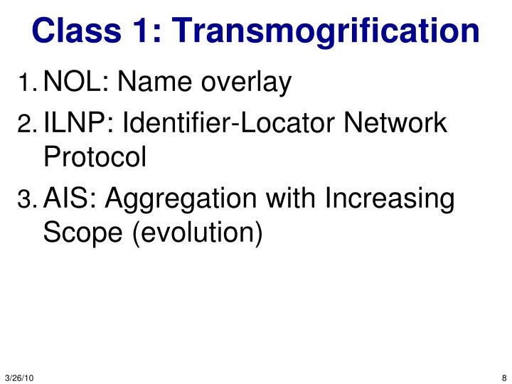 Class 1: Transmogrification