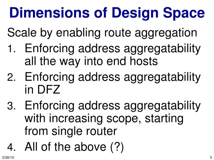 Dimensions of design space