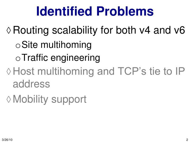 Identified problems