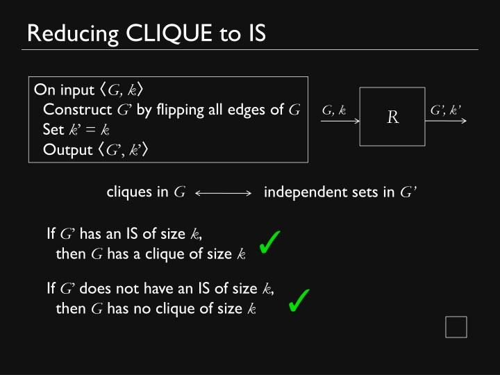 Reducing CLIQUE to IS