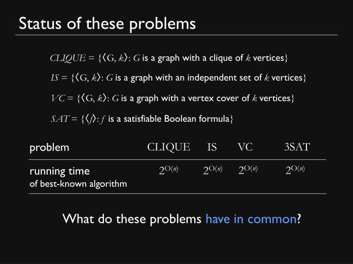 Status of these problems