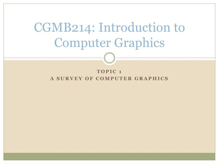 cgmb214 introduction to computer graphics n.