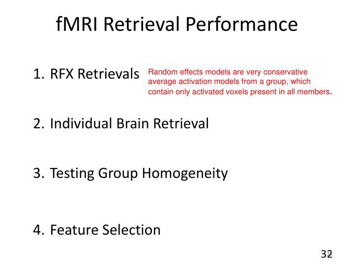 fMRI Retrieval Performance