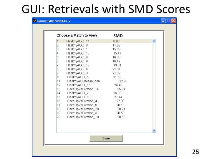 GUI: Retrievals with SMD Scores