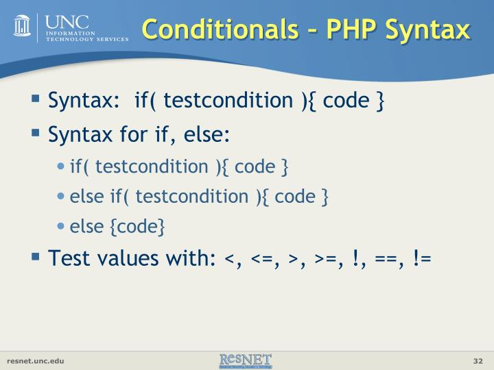 Conditionals – PHP Syntax