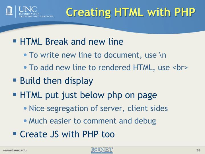 Creating HTML with PHP