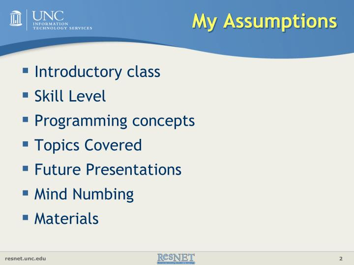 My assumptions
