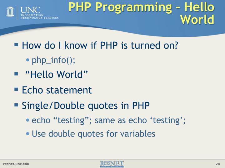 PHP Programming – Hello World